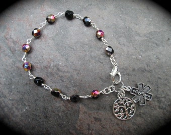 Diabetic Medical Alert Bracelet with Rosary Style chain and filigree charm  Diabetes Awareness Bracelet