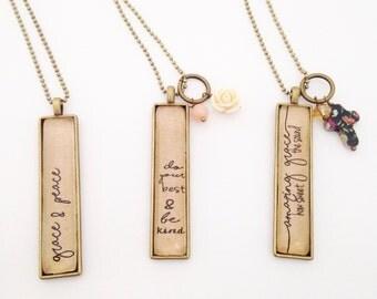 Long Pendant Mantra Necklace. Vintage Style Necklace. Amazing Grace.  Grace and Peace.  Do Your Best