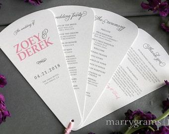 Fan Wedding Program 4 Blade Petal Programs w Satin Ribbon - Customizable Elegant Programs -Wedding Custom Color -Pink, Navy SS05 (Set of 50)