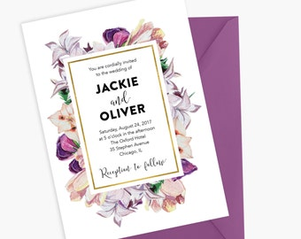Vintage Wedding Invitation, Floral Invitation, Vintage Invitation, Printable Invitation, Invitation Wedding Card, Printable Wedding Card