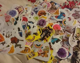 75 random cute stickers - Hello Kitty, Pokemon, my little pony, animals, food, etc