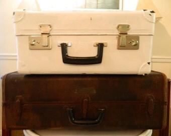 Vintage Suitcase Painted Shabby White Suitcase Vintage Luggage Storage