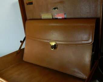 Vintage Tan Leather Briefcase Hard Body Portfolio Attache Case Suitcase Luggage