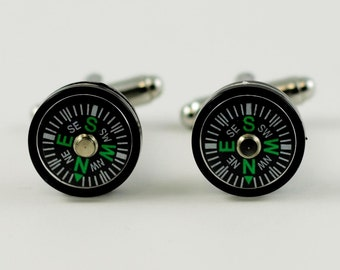 WORKING COMPASS Cufflinks!! -- Magnetically Activated Cuff Links