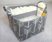 "LG Diaper Caddy 10""x10""x7"" Fabric Storage Bin, Fabric Basket Organizer, White Arrow on Stone Grey with Choose Solid Lining Color"