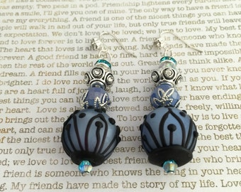 Blue Steampunk Earrings - OOAK Made With Blue And Black Lampwork Beads And Crystals Steampunk Victorian Style