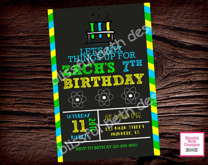 SCIENCE BIRTHDAY INVITATION, Mad Science Party, Science Experiment Birthday, Science Invitation, Science Invite, Science