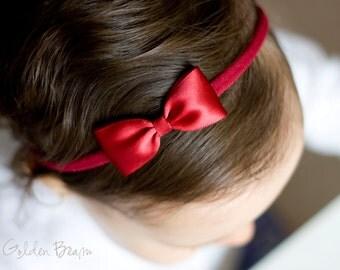 Christmas Dark Red Headbands Bows - Flower Girl Headband - Small Satin Dark Red Bow Handmade Headband - Infant to Adult Headband