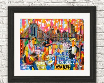 Brooklyn Blues art-music art-american Blues Music- Brooklyn New York Art-Art print-Print-Paint-Home decor-wall art-Blues music