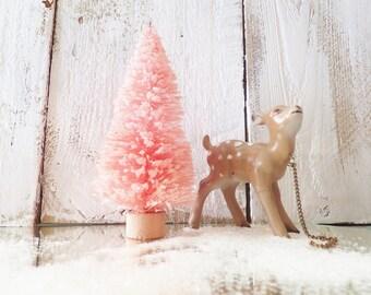 "Pink Christmas Bottle Brush Tree ~ 4"" Glittered ~ Putz House ~ Vintage / Shabby Chic / Retro Style"