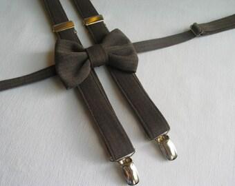 Brown Herringbone Bow Tie Suspenders, Matching Brown Suspenders Bow Tie, Little Boy Clothing, Toddler Wedding Bow Tie, Man Braces