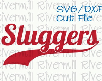 SVG DXF Sluggers With Swash Word Cut File