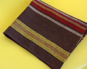 Linen towel tea kitchen brown stripe