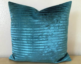 PETROL BLUE velvet cushion cover. Osborne & Little FLAPPER fabric in peacock blue made by MoGirl Designs accent cushion cover