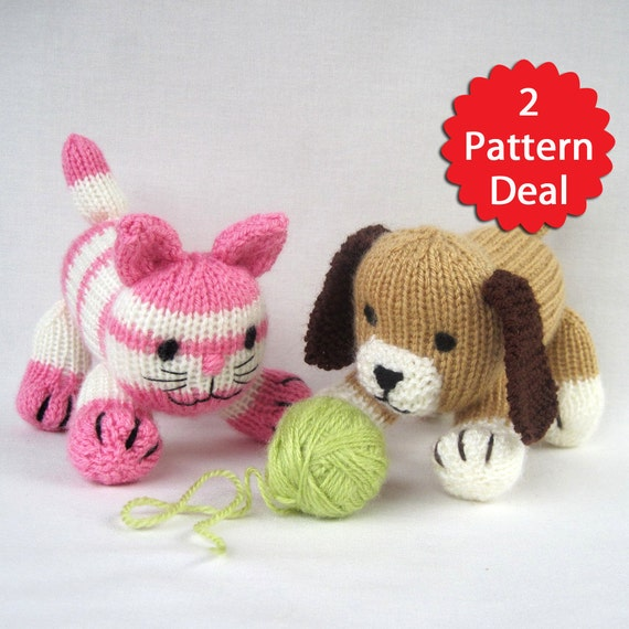 Cupcake and Muffin - 2 pattern deal - toy cat and dog knitting patterns - PDF INSTANT DOWNLOAD
