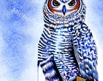 Great Horned Owl Print,Owl Art,Print,Wall Art,Wall Decor,Wall hanging,Owl painting,Owl watercolor,watercolor,painting