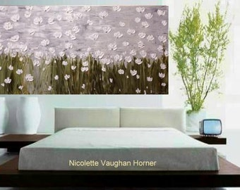 XLarge 4ft x 2ft  gallery canvas Original Contemporary   oil/acrylic  modern  abstract floral painting by Nicolette Vaughan Horner