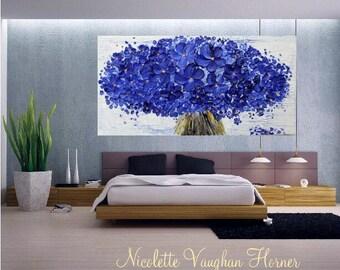 "XLarge Oil Landscape Tree  Original 48"" palette knife Blue Blossom Tree Of Life  impasto oil painting by Nicolette Vaughan Horner"