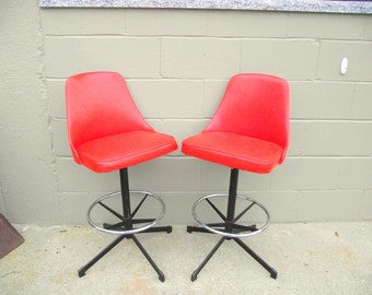 Mid Century Modern Orange Bar Stools ORIGINAL - American Retro Elegance - Swivel & Adjustable Height - Island Chrome Kitchen