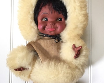 Vintage Regal Doll - Eskimo Girl Doll - Inhuit Girl Doll - Native Indian Doll - Leather Coat Sheepskin Collar