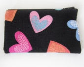 Zippered Coin Purse with Black and Rainbow Hearts Print and Card Slot
