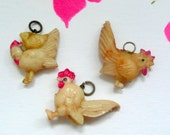Vintage Celluloid Chicken Charms