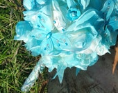 Butterfly Rain large Turquoise bridal bouquet wedding bouquet in turquoise, white and Silver butterfly bouquet
