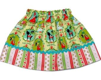 Girls Christmas Skirt Alpine Wonderland Pink Stripe Size 6-12 month, 12-18 month, 2 / 3, 4 / 5, 6 / 7, 8 / 9