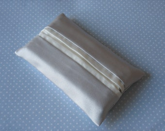 Silver grey and ivory satin tissue holder. Pocket tissue case.