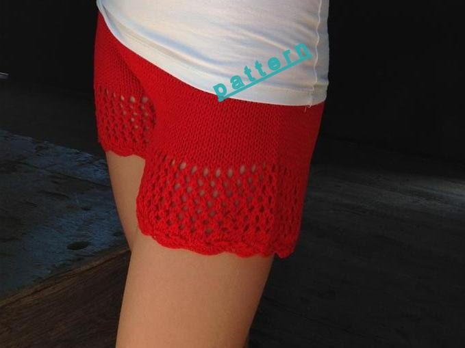 Knitted shorts Pattern Knit lace short PDF tutorial pattern