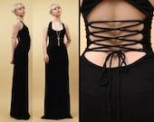 90s Vtg Black CORSET Back Floor Length Column Maxi Dress / Sleeveless Gown GOTH Scoop Neck / Sm - Med