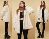 80s Vtg Snow White Genuine Rabbit Fur Jacket / BATWING Oversized Shaggy Winter GLAM Coat Boho Hippie Grunge Rock Star / Sm Med