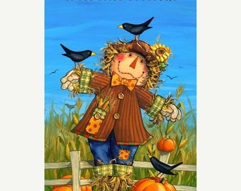 on SALE thru 8/1 WELCOME FRIENDS Northcott  fabric panel cotton quilt fabric Scarecrow Black Crows pumpkins Harvest Fall Autumn