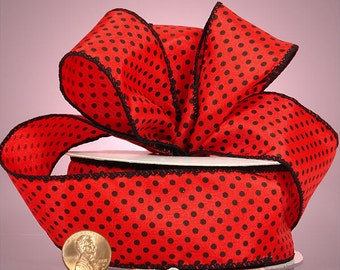 "Cute 1-1/2""W x 5YDS Polyester Satin Ribbon LADYBUG Red & Black Polka Dot"