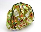 Cute Drawstring Pouch,Teacher's gift idea, Handmade In Canada, Lucky Animals Green