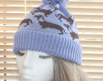 Pale Blue with dark brown Dachshunds dogs pompom bobble hat