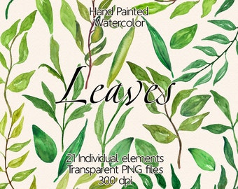 Watercolor leaves - Clip Art Leaves, Large and Small  Watercolor Leaves, Personal and Commercial Use, Transparent Background