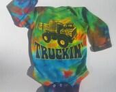 SALE - long sleeve Truckin' infant tye-dye baby onesie romper - Grateful Dead, Furthur, Jerry Garcia, hippie inspired