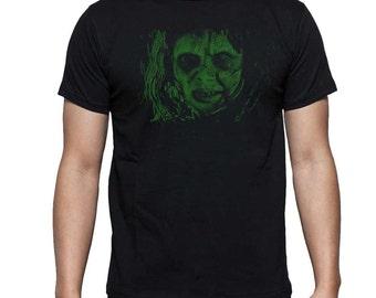 Linda Blair as Regan MacNeil in The Exorcist Movie in Green Ink on Black T Shirt