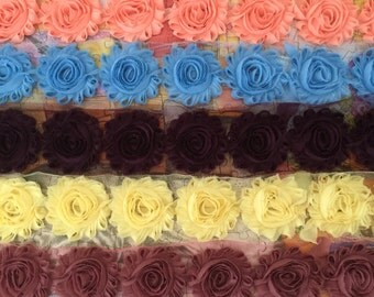 5 Yards Shabby Flowers - Peach , Blue , Dark purple , Light Yellow and Mauve