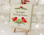 Our First Family Christmas Ornament - Personalized Family Ornament - Mini Canvas with Easel - Newlywed Love Birds - Just Married Custom Gift