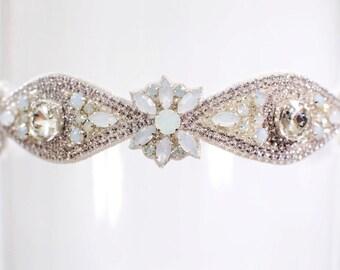 "Wedding Garter Rhinestone Crystal Opal Diamond Couture Bridal Garter Sparkling Bling Garter ""Athena"""