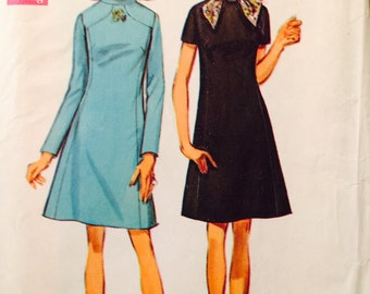 Simplicity 8461 Misses' Dress and Scarf Pattern, UNCUT, Size 18, Vintage 1969, Retro, Stand Up Collar, Fashion, Work Wear, Party Wear