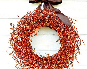 Fall Wreath-Fall Decor-Thanksgiving Wreath-RUSTIC ORANGE Home Decor-Orange Berry Door Wreath-Autumn Decor-Scented Wreaths-Custom Made USA