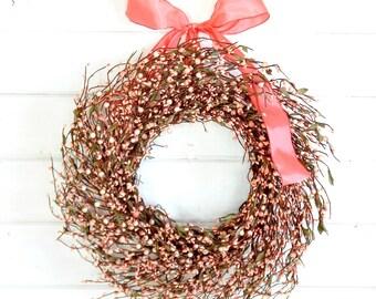 Spring Wreath-Wedding Wreath-Spring Wreath-Easter Door Wreath-Summer Wreath-PINK Berr Wreath-Door Wreath-Country Home Decor-Gift for Mom