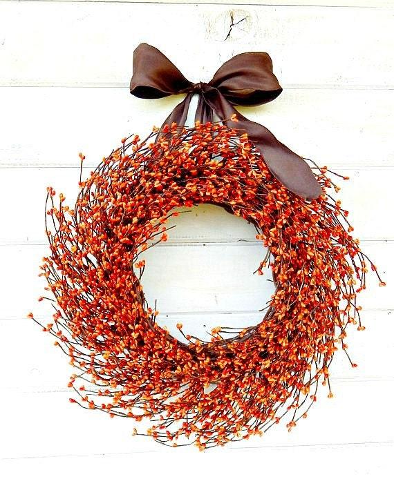 Fall Wreath-Fall Decor-Thanksgiving Wreath-RUSTIC ORANGE Home Decor-Orange Berry Door Wreath-Autumn Decor-Scented Wreaths-Custom Made USA