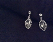 Vintage Rhinestone Dangle Clip Earrings