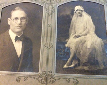 Black and White Bride and Groom Photo 1920's