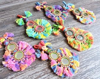 1 pc Large Mirrored Tassel, Colorful Banjara Gypsy Tassels, Indian Kutchi Tassels, Rajasthan India, Decorative Jewelry Making Purse Charm