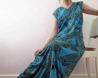 Vintage 70s Turquoise Bronze Animal Print Maxi Dress  Empire Line Medium Medium